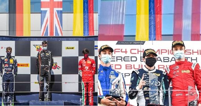 Sebastián Montoya y Nicolás Baptiste en el podio del F4 Italiano en Redbull Ring
